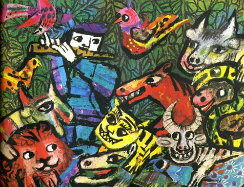 Emanuele Luzzati ilustración para la Flauta Mágica