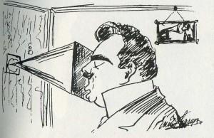 Auto-caricatura de Caruso grabando un disco