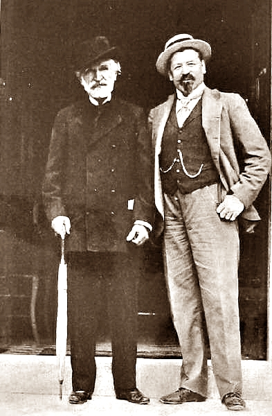 Giuseppe Verdi con el tenor Francesco Tamagno