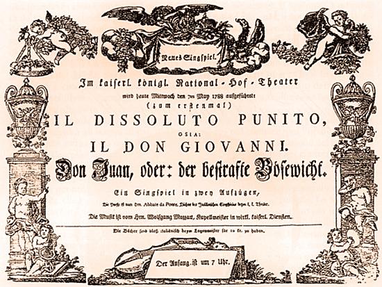 Don Giovanni, cartel del estreno en Viena en 1788