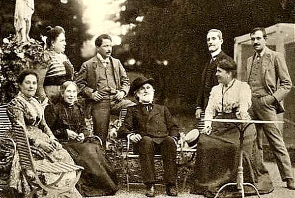 Verdi en SantAgata , 1898 de izquierda a derecha Stolz , Strepponi , Campanari , Verdi , Guilio Ricordi , Giuditta Ricordi , Metlicevik .