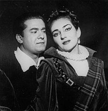 Maria Callas y Giuseppe di Stefano como la pareja protagonista