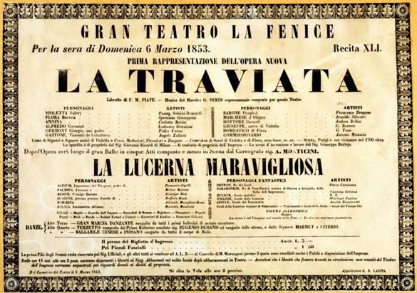 teatro la fenice de venecia cartel primera de la Traviata de Verdi